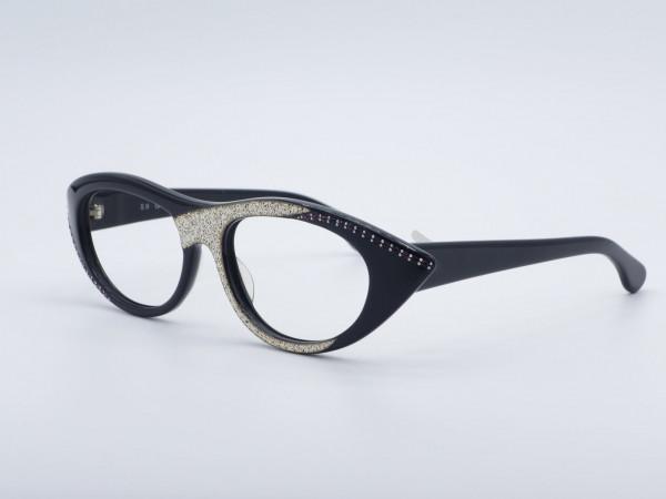 NOUVELLE Vague S9 Grace Schwarz Kunststoff Frau Brille Strass Vintage Fassung