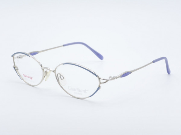 CHARMANT 7631 blau silbern ovale Titan Damen Brillen Frauen Metall Rahmen Fassung