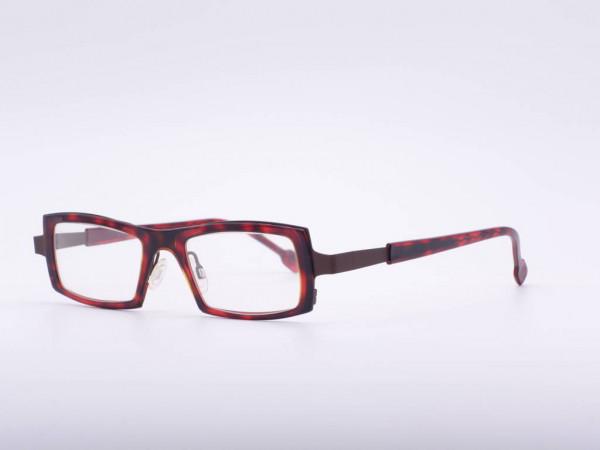 Theo Eyewear rote rechteckige Damen Brille Kunststoff Rahmen Belgien GrauGlasses