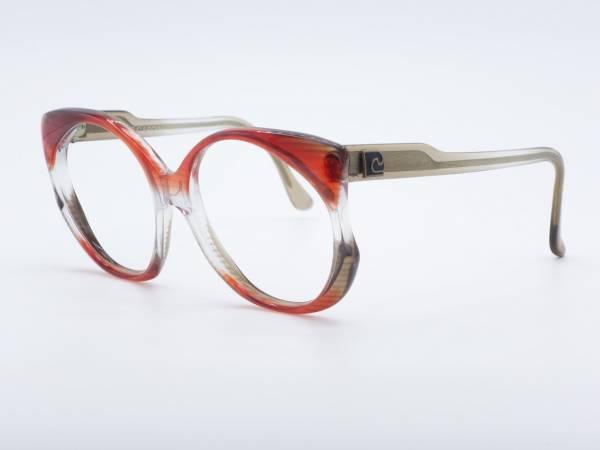 Pierre Cardin 80er Jahre Schmetterling Frau Übergroße Brille Roter transparenter Rahmen GrauGlasses