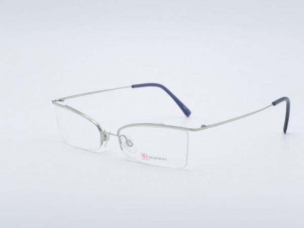 Yoshino leichte rechteckige silberne Herren Titan Brille