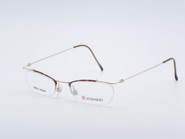 Yoshino Rahmenlose Herren Brille sehr leichte Titan Fassung Form rechteckig Bernstein Gold Farben