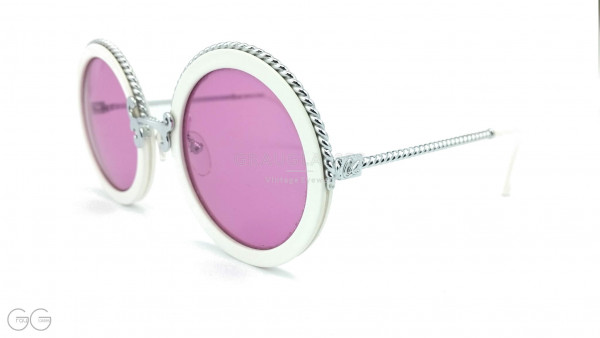 Christian Lacroix runde weiß silberne Vintage Damen Sonnenbrille Modell 7302 mit runden pink-violet Sonnengläser GrauGlasses