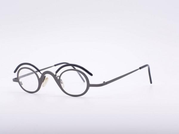 theo eyewear runde graue Fassung aus Metall Damen Brille mit Spezial Augenbraue Belgien GrauGlasses