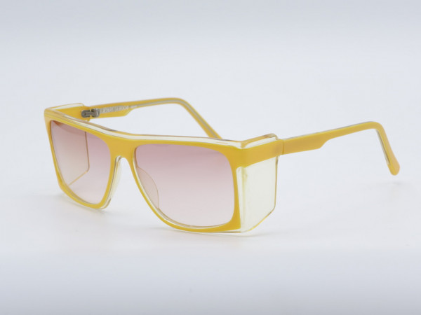 Robert La Roche 867Y Schild Sonnenbrille Gelbe Quadratische Frauen Brille Große Gläser Einzigartige GrauGlasses