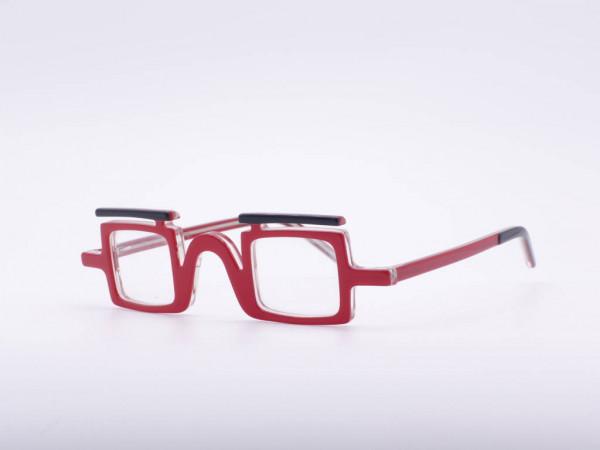 theo eyewear rote viereckige Damen Brille Kunststoff Schwarz Augenbraue Auffallend Provokant Belgien GrauGlasses