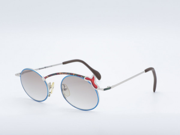 Casanova FC23 Oval Luxus seltene Frau Sonnenbrille Metall Frame blau besondere einzigartige GrauGlasses