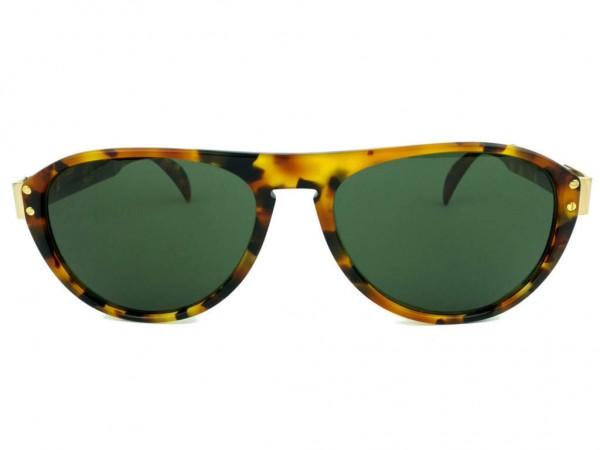 Silhouette Vintage Herren Sonnenbrille mit Leopard Muster und Grünen Gläsern