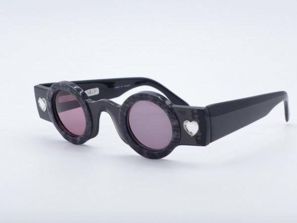 Patrick Kelly Peanut schwarze runde Damen Sonnenbrille Herz Strass Paris Frankreich