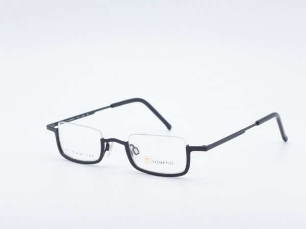 Yoshino eckige schwarze Herren Titan Halbrand Brille