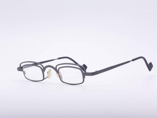 Theo Eyewear leichte Brille Rechteckig Metall Grau Augenbraue Modell Younger Belgien GrauGlasses