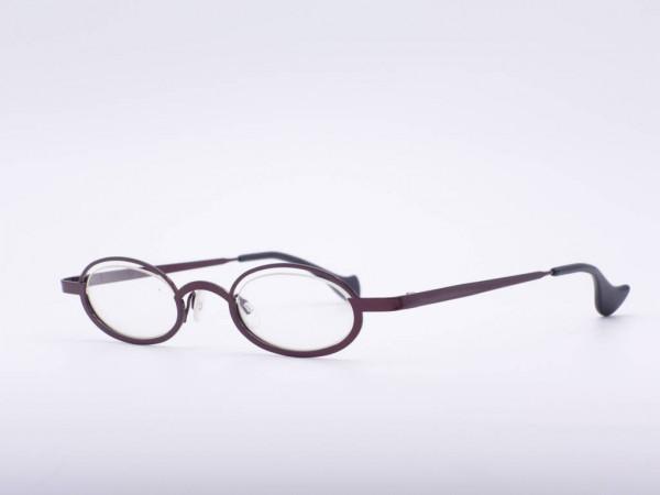 Theo Eyewear dee slim schmale dunkelrote ovate Damen Brille Metall Made in Belgien GrauGlasses