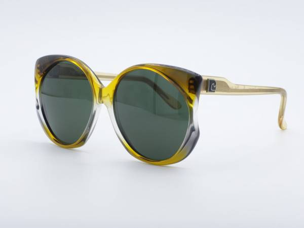 Pierre Cardin 214 Schmetterling Damen Sonnenbrille 80er Jahre Gelb Verlauf Rahmen Grün Gläser