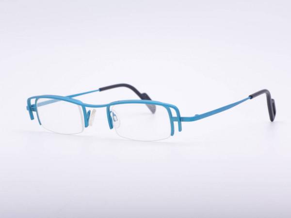 theo eyewear Frau winter türkis blau Metall Halbrand Brille Belgien GrauGlasses