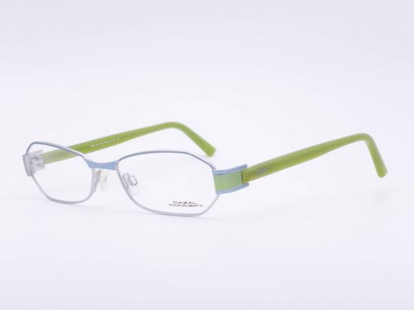 Moderne silberne Cazal Conzept Metall Damen Brille Modell 503 rechteckige Fassung grüne Bügel GrauGlassses