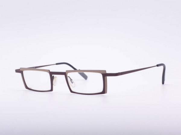 Theo Eyewear modern titan rechteck braune metall Brille Belgien GrauGlasses