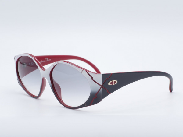 DIOR 2348 Oversized Sonderfarbe Sonnenbrille Frau rot weißen Rahmen Optyl GrauGlasses