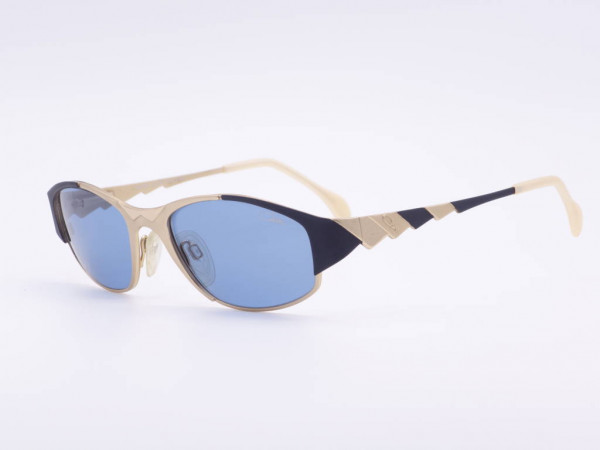 Cazal Damen Sonnenbrille einzigartiges Modell 987 in Gold und Schwarz Metall Fassung blaue Gläser GrauGlasses