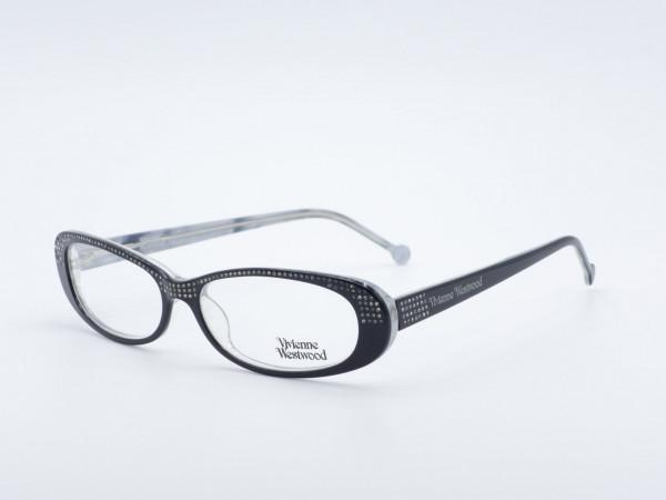 Vivienne Westwood viele Strass Steine rechteckige schwarze Damen Brille GrauGlasses
