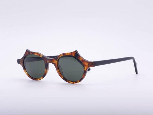 Theo Eyewear 90er Vintage Auffallende runde Sonnenbrille Bernstein Farben Belgien GrauGlasses