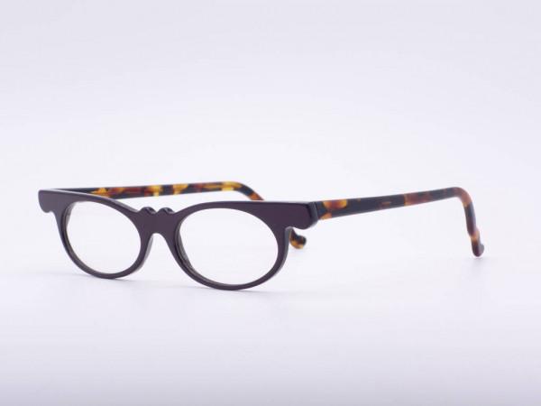 Theo Eyewear dunkel lila Bernstein Cat Eye Brille Damen Kunststoff Vintage Belgien GrauGlasses