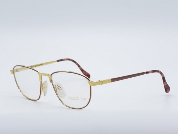 CERRUTI Luxus Metall Herren Brille Bernstein Gold Quadrat Fassung Modell 1806 GrauGlasses