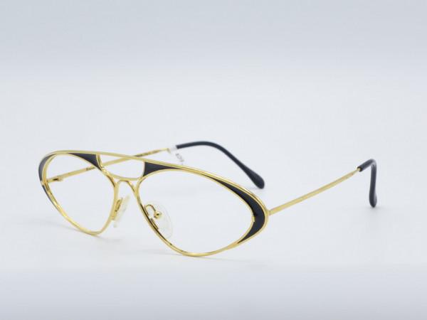Casanova LC8 Oval Gold schwarz Metall Brille große Vintage Frame übergroße GrauGlasses