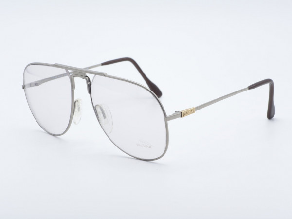 JAGUAR 349 Piloten Vintage Brille Silber Herren Metallrahmen Übergroße Fassung GrauGlasses