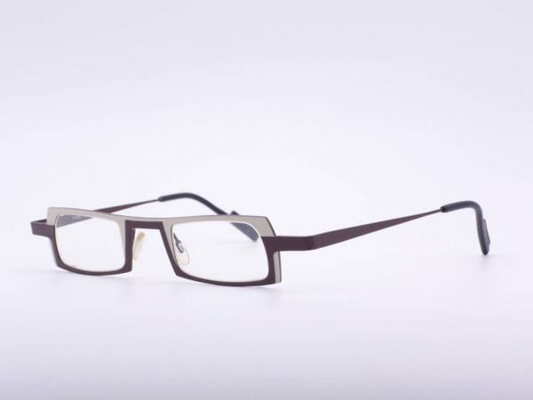 Theo Eyewear schmale leichte rechteckige Brille aus Titan in braun und beige Belgien GrauGlasses