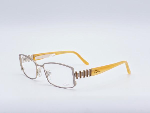 Cazal Damen Brille rechteckige Form silberner Rahmen orange Bügel Metall Fassung Modell 4131