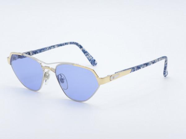 Roman Rothschild 1024 Damen golden blaue Sonnenbrille Luxus Katzenaugen Rahmen Schweiz GrauGlasses